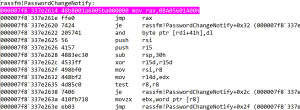 Disassembly of PasswordChangeNotify after being hooked. The instructions after jmp rax disassemble incorrectly after hooking, but all the code after the hook is intact.