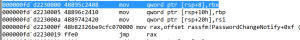 Disassembly of the RWX memory I allocate which ends up returning execution to PasswordChangeNotify.