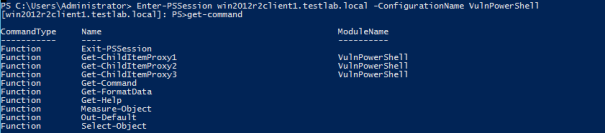 Running Get-Command in a constrained runspace.
